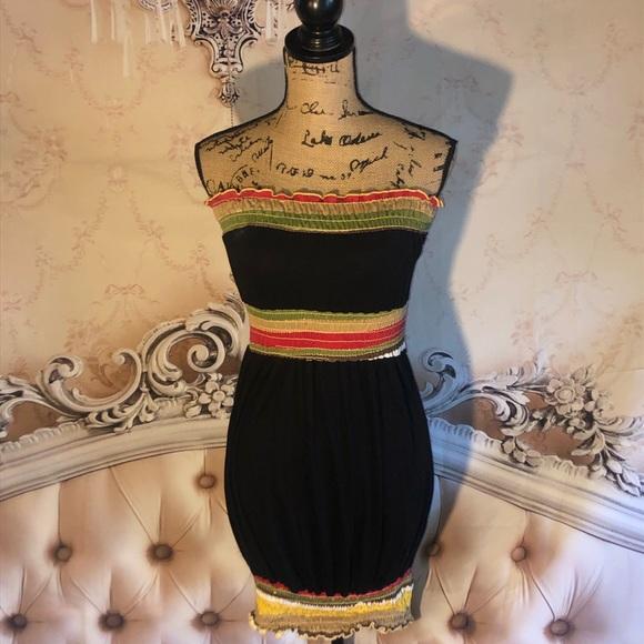 voll Dresses & Skirts - Voll Strapless Striped Black Bunch it up Dress